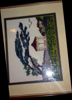 Cross stitch with creative licence - Clevedon Bandstand.