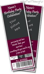 Ticket invitation templates, printable ticket invitations with ...