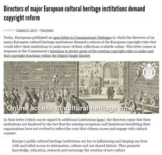Directors of major European cultural heritage institutions demand copyright reform / @communia_eu | #readytoshare #readytocopy