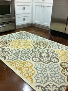 Kitchen rug : purchased from Overstock.com. Blue, grey, yellow, brown, home decor, kitchen decor. Visit my blog askfordirection.net