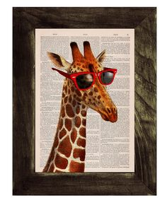 Hey, I found this really awesome Etsy listing at https://www.etsy.com/listing/123144325/vintage-book-print-cool-giraffe-with