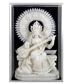Goddess Saraswati - Sholapith Sculpture Saraswati Photo, Saraswati Goddess, Indian Artwork, Indian Goddess, Silk Painting, Ganesha, Truths, Sculpture, Statue