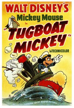 Mickey Mouse - Tugboat Mickey / From Walt Disney Disney Pixar, Walt Disney Mickey Mouse, Minnie Mouse, Old Disney, Mickey Mouse And Friends, Disney Love, Disney Wiki, Disney Villains, Disney Animation