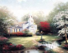 Hometown Chapel - Thomas Kinkade - World-Wide-Art.com - $1325.00 #Kinkade
