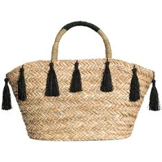 Straw Shopper $34.99 ($35) ❤ liked on Polyvore featuring bags, handbags, tote bags, beige tote, woven purse, beige tote bag, embellished handbags and woven tote