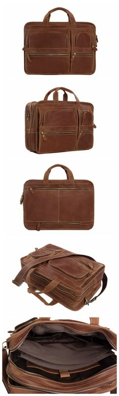 HANDMADE MULTI-USE ITALIAN LEATHER LUGGAGE BAG TRAVEL BAG LAPTOP BRIEFCASE