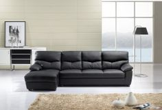 American Eagle Modern Black Leather Sectional Sofa Set Couch Chaise