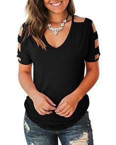online shopping for Jescakoo Women's Short Sleeve Cut Out Cold Shoulder Tops Deep V Neck T Shirts from top store. See new offer for Jescakoo Women's Short Sleeve Cut Out Cold Shoulder Tops Deep V Neck T Shirts Outfit Jeans, Lässigen Jeans, Elegantes Outfit Mit Jeans, Umgestaltete Shirts, Sexy Shirts, Shoulder Shirts, Shoulder Cut, Shoulder Sleeve, Cold Shoulder Tops