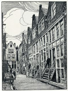 Dutch architecture illustrations by Wenckebach L.W.R. from the 1800s - slootstraatrt (via janwillemsen's Flickr)