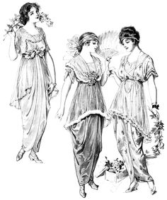 vintage fashion clip art, Edwardian clothing illustration, fashion for teens 1914, antique fashion printable graphics, black and white clipart, junk journal printable
