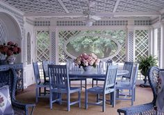 romantic cottage style porch veranda blue white pink