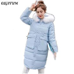 2017 Winter New Women cotton jacket long section thicker down cotton coat fur collar jacket casual warm Parka plus size 3colors