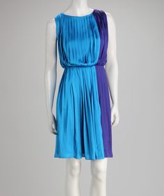 Take a look at this Royal & Turquoise Pleated Color Block Dress by Voir Voir on #zulily today!