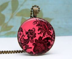 Pink Damask Pendant Necklace Glass Dome Art Picture by Lizabettas, $12.00
