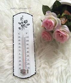 Thermometer Holz Wandthermometer Garten Haus Shabby Vintage Glas Vogel Blume Neu | eBay