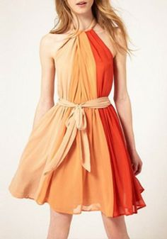 Multicolor Tie Back Draped Round Neck Polyester Dress!