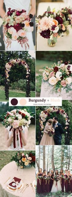 Burgundy wedding flowers, burgundy bridal bouquet ideas, gorgeous blush and burg. - Burgundy wedding flowers, burgundy bridal bouquet ideas, gorgeous blush and burgundy wedding decor - Burgundy Wedding Colors, Fall Wedding Colors, Wedding Color Schemes, Burgundy Colour, February Wedding Colors, Pink Color, April Wedding, Burgundy Flowers, Wedding Color Palettes