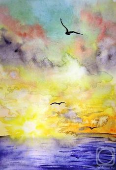 Freedom - water colour by Olga Peschania