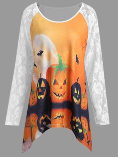 af453314689 Plus Size Halloween Pumpkin Lace Panel Asymmetrical T-shirt - WHITE 3XL