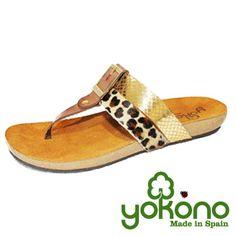 Sandalia plana leopardo y dorado