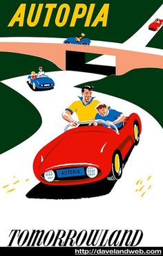 disney autopia poster | Vintage Disneyland Posters - Drivers lane one Green Light GO!!!!!