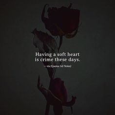 Having a soft heart is crime these days. Soft Heart Quotes, Soul Quotes, Strong Quotes, Attitude Quotes, Words Quotes, Positive Quotes, Sayings, Dark Quotes, Meaningful Quotes