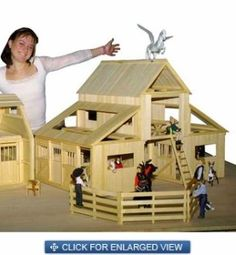 Wooden Toy Horse Stable | ... breezeway barn wooden toy stables this wooden toy barn set is perfect
