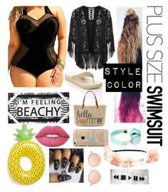 """""""Untitled #53"""" by kila-cupcake on Polyvore featuring Lane Bryant, Straw Studios, Monki, Big Mouth, Lime Crime, Agent 18, stylishcurves and plussizeswimsuit"""