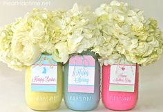 How cute are these Spring Mason Jars...I love spring colors!! From @Jamielyn {iheartnaptime.net}