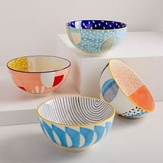 Hand-Painted Pattern Pop Bowls - Large - - Vibrant patterns and color on our hand-painted Pattern Pop Bowls take your mealtime from ordinary to extraordinary. Mix and match to create your own unique set. Pottery Painting Designs, Pottery Designs, Paint Designs, Pottery Patterns, Pottery Bowls, Ceramic Pottery, Pottery Art, Slab Pottery, Thrown Pottery