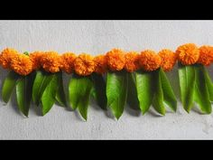 Diwali Toran Making With Marigold Flowers + Mango Leaves Diwali Decoration Ideas - YouTube