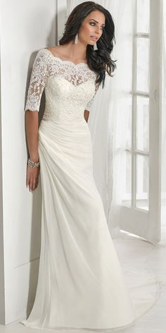 Chic Tulle & Chiffon Off-the-shoulder Neckline Mermaid Wedding Dress With Beaded Lace Appliques