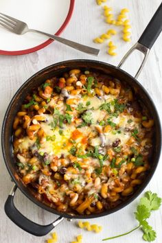 One pot vegetarian chilli mac - a cross between chilli and macaroni cheese! It's spicy, saucy, cheesy - and all done in one pan :) Pasta