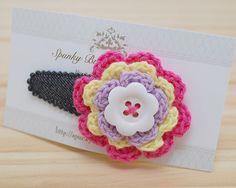 Colorful Hair Clip Crochet Flower Hair Clip Button by SpunkyBunny, $5.00