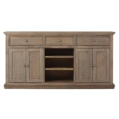Home Decorators Collection Aldridge 3-Drawer Wood Sideboard Cabinet in Antique Grey