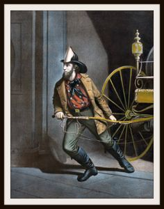 """Beautiful art print Vintage Poster Art Print Fireman Wall Decor Unframed Print is Unframed 8.5 x 11"""" Ready for framing . Professionally printed on medium weight cardstock"""