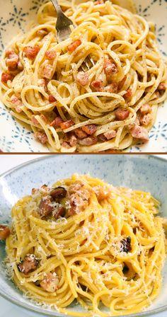 Easy Carbonara Sauce, Carbonara Recept, Pasta Carbonara, Italian Carbonara Recipe, Indian Food Recipes, Gourmet Recipes, Italian Recipes, Cooking Recipes, Instant Pot Pasta Recipe