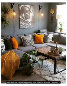 Cozy Living Room Warm, Living Room Decor Cozy, Boho Living Room, Living Room Grey, Living Room Warm Colors, Interior Design Living Room Warm, Warm Home Decor, Small Living Rooms, Living Room Inspiration