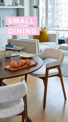 Just right for small spaces. Luxurious and versatile make up the characteristics of the Conan dining table. A stunning sunburst wood veneer top adds glamour while its dynamic centered leg design lends it a wonderful sculptural feel. Dining Table Small Space, Dinning Room Tables, Dining Table In Kitchen, Dining Room Design, Modern Dining Table Designs, Ikea Round Dining Table, Dining Living Room Combo, Small Dining Table Apartment, Ikea Dining Room