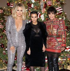 Tricks of the trade: Khloe Kardashian, pictured last Christmas season with sister Kim and mom Kris, spilled her secrets for staying fit during the holidays on her subscription website Tuesday Familia Kardashian, Koko Kardashian, Kardashian Family, Kardashian Style, Kardashian Jenner, Kardashian Fashion, Jenner Kids, Jenner Family, Kendall And Kylie Jenner