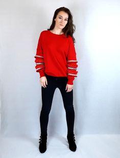 Get it at www.pinkblackheart.com Red Christmas Jumper, Christmas Jumpers, Red Jumper, Red Colour, Colour Board, Online Fashion Stores, Black Heart, Jacket Dress, Pink Black