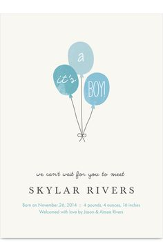 Blue Balloons Birth Announcement