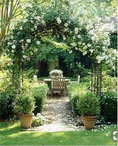 Beautiful garden with canopy of trellis roses and path