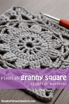 Crochet Diy Raad met draad: Finnish granny square pattern in English Motifs Granny Square, Crochet Motifs, Granny Square Crochet Pattern, Crochet Blocks, Crochet Squares, Granny Square Tutorial, Granny Square Blanket, Crochet Granny Square Beginner, Granny Square Projects