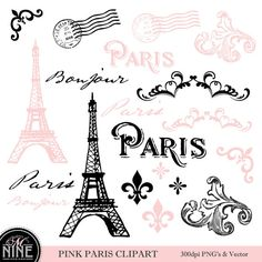 PARIS rose thème Clipart Digital Clip Art Vintage par MNINEDESIGNS