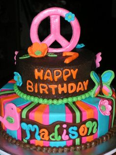 Hippie Chick themed birthday - Cake by Cake Creations by Christy