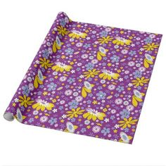 Purple yellow floral pattern wrapping paper - birthday gifts party celebration custom gift ideas diy