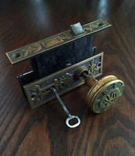 Antique Set Victorian Mallory Wheeler Bronze Door Knobs with Mortise Lock