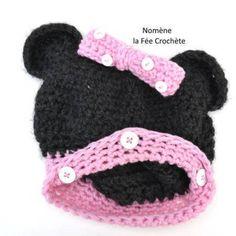 Bonnet rose et noir à oreilles et noeud, pour fille, fait main au crochet,