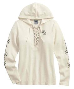 Free shipping over $99 - Harley-Davidson Women's Scroll Skull Hooded Henley, Off White 99131-17VW - Essentials/Shirts & Hoodies/Womens Tops/Long Sleeve Tees - Womens/Shirts & Hoodies/Long Sleeve Tees